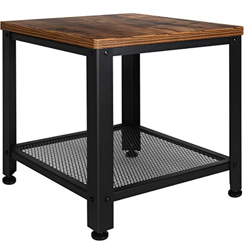 TomCare End Table 2-Tier Side Table with Storage Shelf Small Tables Living Room Square Coffee Table Nightstand Metal Frame Bedside Table Multipurpose for Home Office Living Room Bedroom