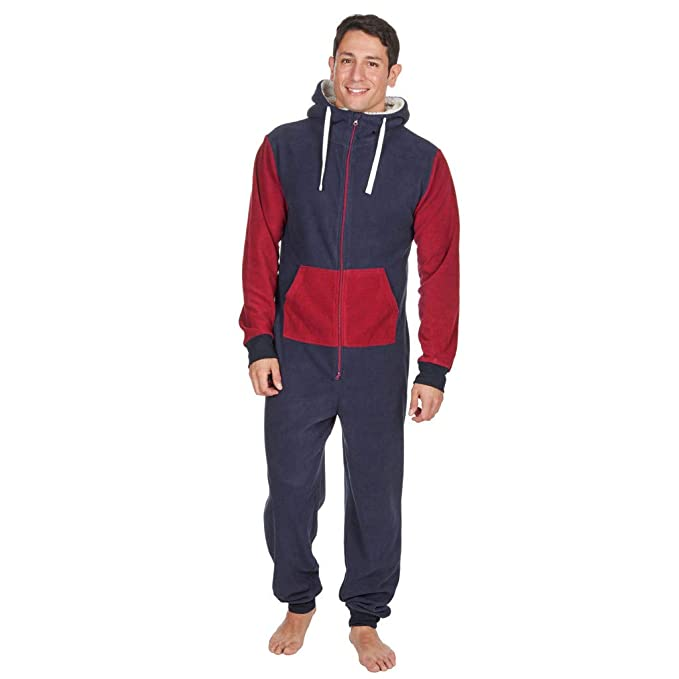 8d1ad4a9ade Men s Christmas Onesie Jumpsuit one Piece Non Footed Splicing Pajamas Unisex -Adult Hooded Overall Hoodie Zip up Playsuit Xmas Romper (Navy