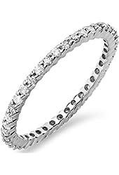 IGI CERTIFIED 0.55 Carat (ctw) 14k White Gold Round Diamond Ladies Eternity Stackable Ring Wedding Band