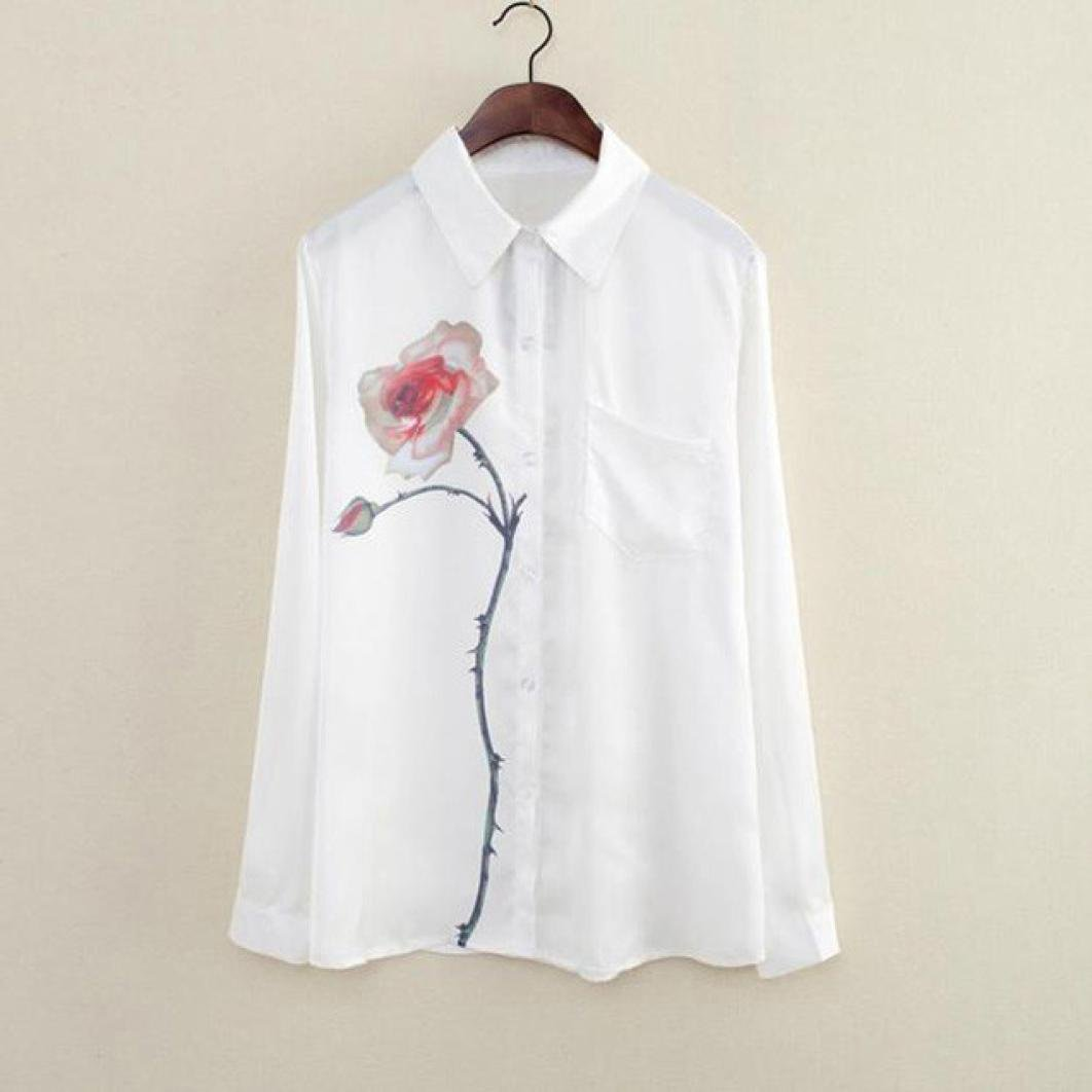 Amazon.com: DondPO Women Long Sleeve Rose Flower Casual Blouse Turn Down Collar Chiffon Shirts Girl T Shirt Tops Tee For Summer Spring: Clothing