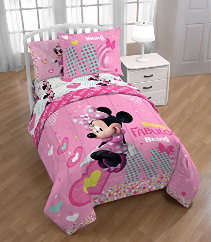 TN 2 Piece Kids Girls White Pink Minnie Mouse Comforter Twin/Full Set, Disney Black Girl Mickey Mouse Bedding Mini Polka Dot Bow Hearts Plaid Teal Blue Yellow, (Mini Twin Comforter)