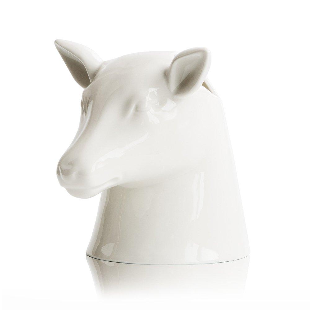 Suck UK Stag Head Portautensili, Ceramica, Bianco, 20 x 19.5 x 19 cm Suckuk SK POTSTAG1