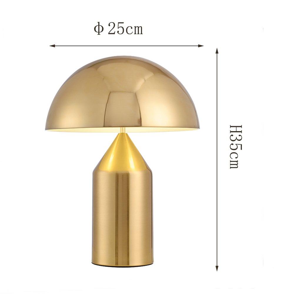 /Φ25cm H35cm E27 Skandinavische Postmoderne Schmiedeeisen Tischlampe Plating Gold Kreative Pilz Schreibtischlampe Augenschutz Leselampe F/ür Wohnzimmer Studie Schlafzimmer Color : Wei/ß