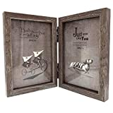 CECII Wood Picture Frame, Hinged Double Picture Frame, Double 4 by 6 inch (Random Selected Color) by CECII