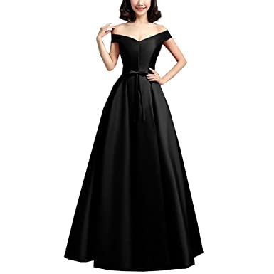 MORYSONG Womens Off The Shoulder Satin Long Prom Party Dress with Bow US2 Black