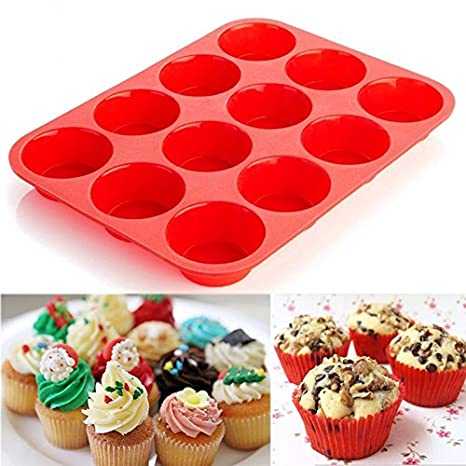 Joyglobal Silicone 12 Cavity Baking Pan Mold Bakeware Moulds Baking Tools & Accessories at amazon