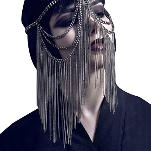 Funpa Party Mask Costume Headwear Mask Head Face Alloy Chain Mask for Nightclub Dance Party (Black)