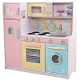 Kidkraft 53181 Large Pastel Wooden Pretend Play Toy Kitchen For Kids With Role Play Accessories