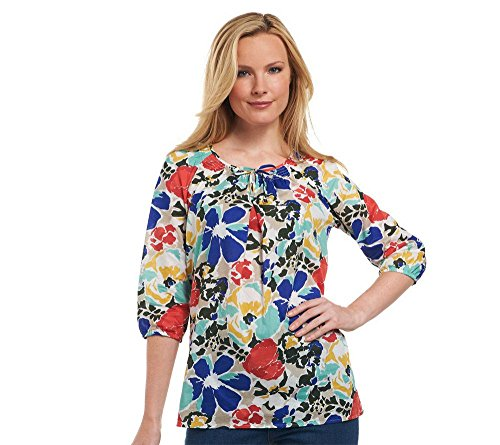 liz-claiborne-new-york-floral-printed-smocked-neck-tunic