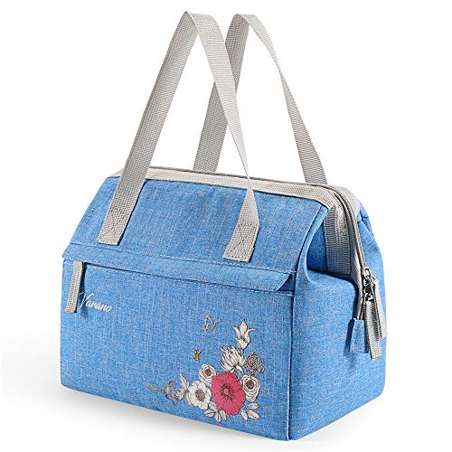 (VARANO Lunch Bag for Women Insulated Lunch Cooler Tote Bag Women's Lunchbox with Exterior Pockets, Stylish Lunch Box for Work & School (Blue))