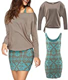 Jusfitsu Women's 2 Piece Outfits Casual Bodycon Short Tank Dresses with Long Sleeve Tops Khaki L
