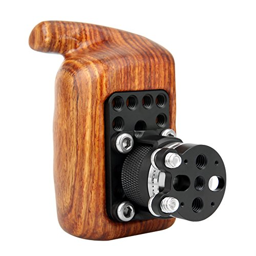 NICEYRIG Wooden Handle Grip Kit with Rosette Mount Adapter Applicable Nikon Compatible with Canon Camera Cage Shoulder Mount Support Rig Compatible with DJI Ronin Gimbal (Left)