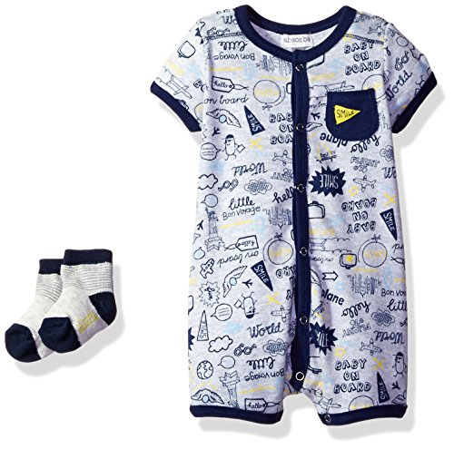 absorba Baby Boys Romper and Sock Set, Navy, 3/6
