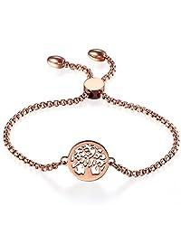 "Women Adjustable Bracelet,Cupimatch Tree of Life Stainless Steel Charm Bracelet Link Chain 8.8"""