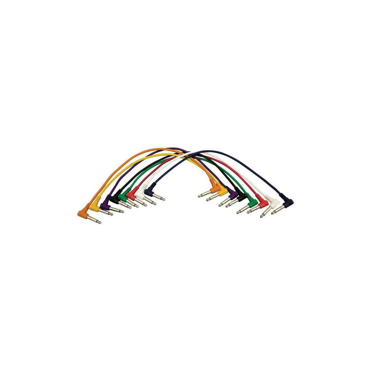 On-Stage Hot Wires Right Angle 1/4'' Patch Cables, 17'' (8 Pack)