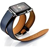 Maxjoy for Apple Watch Band, Genuine Leather Watchband 38mm 40mm for iWatch Loop Strap with Metal Clasp Replacement Bracelet for Apple Watch Series 4 3 2 1 Sport Edition, Double Tour Cuff (Dark Blue)