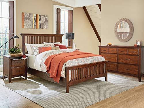INSPIRED by Bassett BP-4201-214K Modern Mission Queen Bedroom Set, Vintage Oak