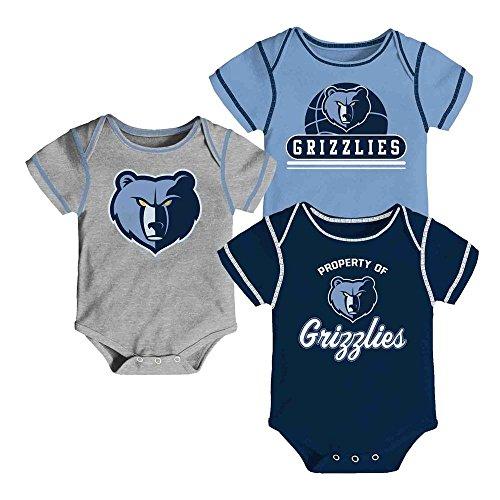 Memphis Grizzlies Newborn Team Color Alternate Gray 3 Piece Creeper Set (0/3 ()