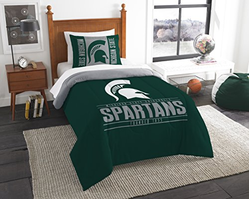 The Northwest Company Officially Licensed NCAA Michigan State Spartans Modern Take Twin Comforter and Sham (Stand State Michigan)
