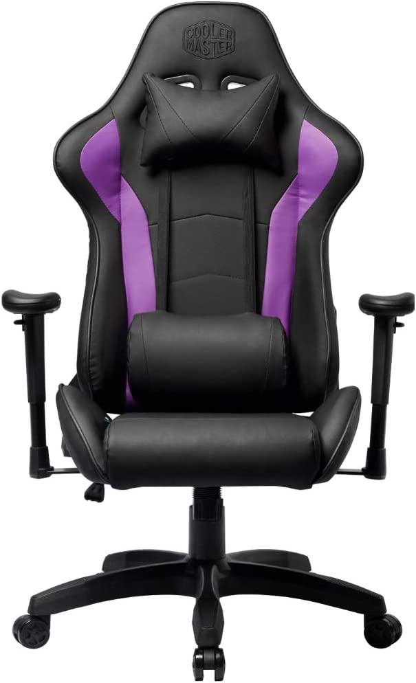Cooler Master Caliber R1 Gaming Chair High-Back Office Computer Game Chair, PU Leather Reclining Ergonomic Backrest, Seat Height and Armrest Adjustment with Headrest and Lumbar Support - Purple