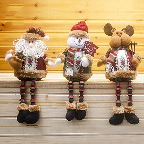 Gaosaili Christmas Standing Figurine Toy Xmas Home Indoor Table Ornament Decorations (Pack of 3, Santa Claus+Snowman + Deer)