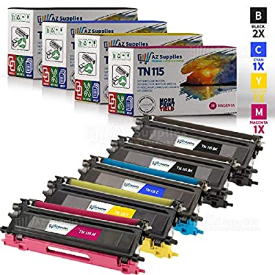 AZ Supplies © Premium OEM Quality 5PK TN115 High Yield Toner Cartridges Color Set + Black Professionally Remanufactured for Brother DCP-9040CN, DCP-9045CDN, HL-4040CDN, HL-4040CN, HL-4070CDW, MFC-9440CN, MFC-9450CDN, MFC-9840CDW Printers (2x Black, 1x Cya