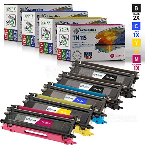 AZ Supplies © Premium OEM Quality 5PK TN115 High Yield Toner Cartridges Color Set + Black Professionally Remanufactured for Brother DCP-9040CN, DCP-9045CDN, HL-4040CDN, HL-4040CN, HL-4070CDW, MFC-9440CN, MFC-9450CDN, MFC-9840CDW Printers (2x ()