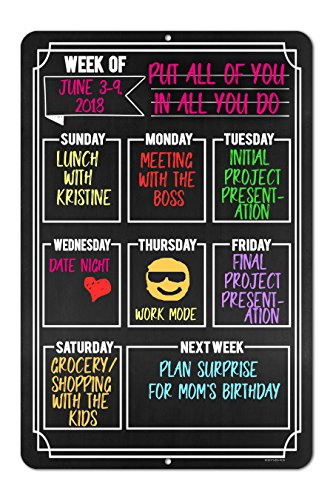 Chalkboard Style Weekly Calendar - Durable 12 x 18 Metal Tin Sign - Hang on Your Wall