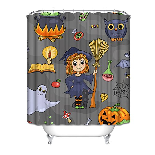 HGOD DESIGNS Girl Dress Witch Cloth With Besom Sit On Cat Halloween Theme Characters Collection Pumpkin Ghost Books Candlelight Owl Sugar Bat Waterproof Shower Curtain 7272 ()