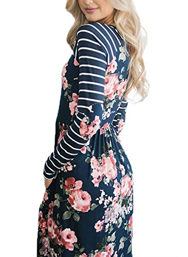 Shirt line Length T Short A Loose Casual HOTAPEI blue Sleeve Knee Print Floral Women's A Dresses xRzqO0v
