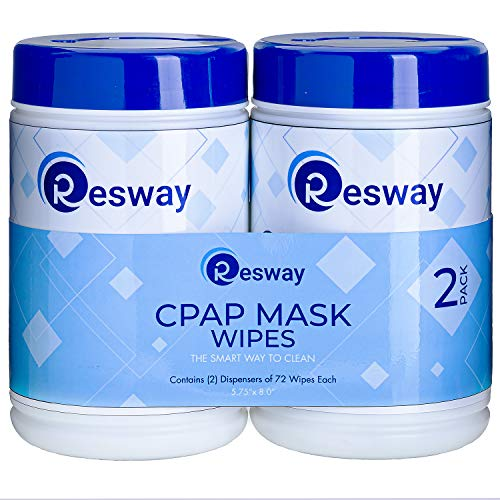 Resway Respiratory Machine Mask Cleaning Wipes - Unscented, Extra Large, Non-Woven - for Mask, Machine, Tubing - Remove Dust, Dirt, Oil - 72 8X 5.75-Inch Sheets per Travel-Friendly Canister - 2-Pack