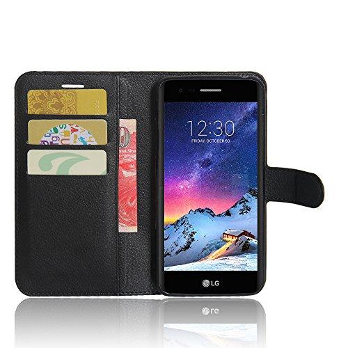 LG K4 Funda carcasa / caso / case, KuGi ® LG K4 Funda / caso- PU de cuero de alta calidad caja de la carpeta pata de cabra para LG K4 teléfono inteligente.(Negro) negro
