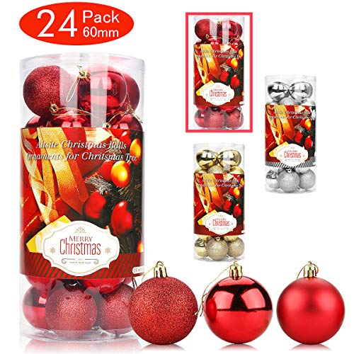 Aitsite 24 Pack Christmas Tree Ornaments Set 2.36 inches Mini Shatterproof Holiday Ornaments Balls for Christmas Decorations (Red) (Cheap Tree Decorations Dollar Christmas)