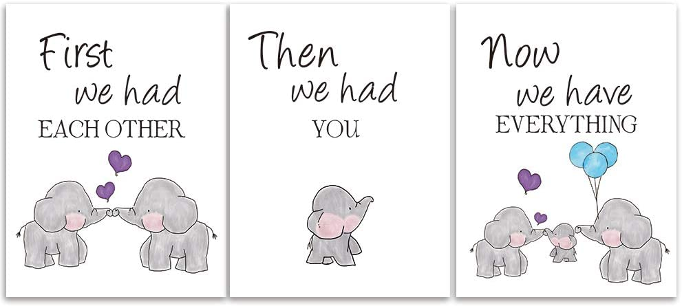 KAIRNE Cute Baby Elephant Watercolor Art Print, Set of 3 Balloon Elephant Family Love Quote Wall Art Poster, Living Room Bedroom Home Decor Nursery Art Canvas,Unframed 12x16Inch