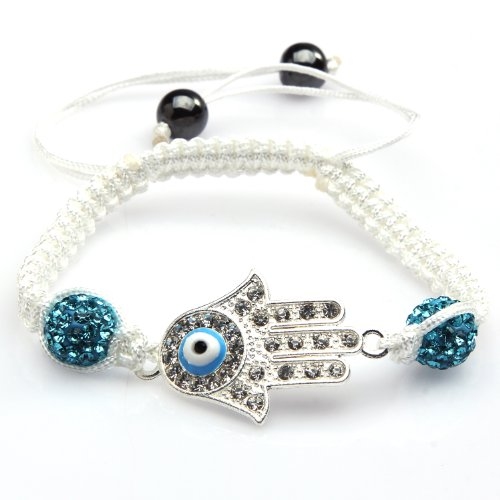 ILOVEDIY 2pcs Crystal Beads Handmade Evil Eye Bracelet