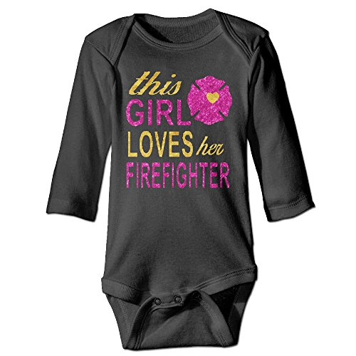 Unisex Cotton Long Sleeve This Girl Loves Her Firefighter Infant Baby Girls' Boys' Onesies Bodysuit 6 M Romper