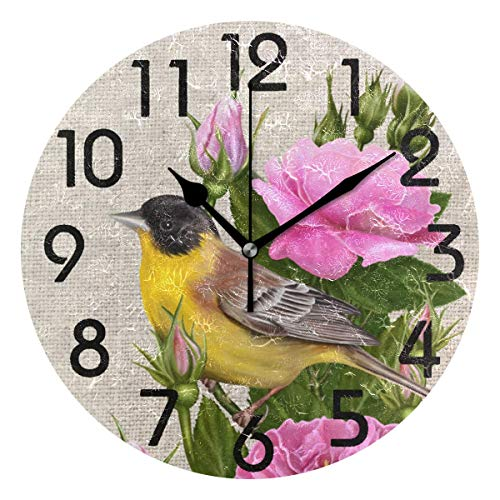 Dozili Chic Yellow Bird on Branch of Tea Roses Print Round Wall Clock Arabic Numerals Design Non Ticking Wall Clock Large for Bedrooms,Living Room,Bathroom