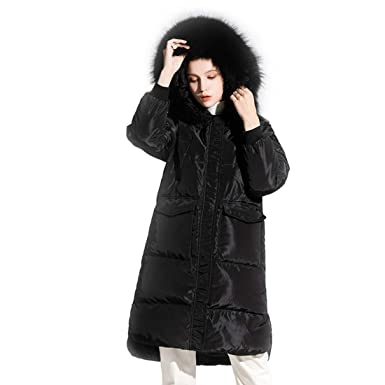 3017608667e Amazon.com: Women Thickened Long Down Coat with Fur Hood Loose Warm ...