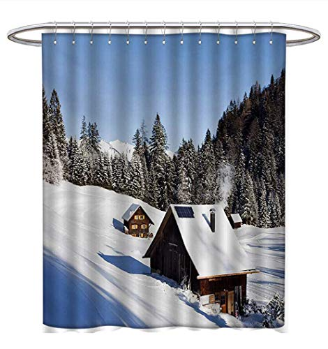 Anhuthree Winter Shower Curtain Collection by Log Cabins in The Mountains Sunny Winter Day Rural Scene Holiday Vacation Satin Fabric Sets Bathroom W48 x L84 Blue Brown ()