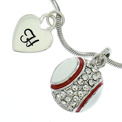 Personalized Baseball Ball Necklace Sparkling Crystal Pendant Chain Customizable Hand Stamped Initial Letter Silver Heart Custom Charm Gift Sport Jewelry (Mlb Genuine Necklace)