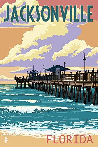 Jacksonville, Florida - Pier and Sunset (12x18 Fine Art Print, Home Wall Decor Artwork Poster) (Decor Home Fl Jacksonville)