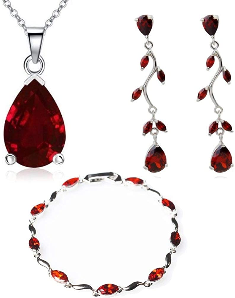 Lágrimas Juego de joyas con Rojo Cristales austríacos de Zirconia Collar 45 cm Pendientes Pulsera 18k Chapado en oro blanco