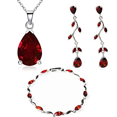 7158a0ed150 Crystalline Azuria Women 18 ct White Gold Plated Teardrops Red Zirconia  Crystals Set Necklace 18