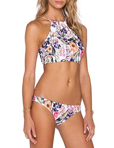 Floral dos piezas traje de baño Bikinis de las mujeres