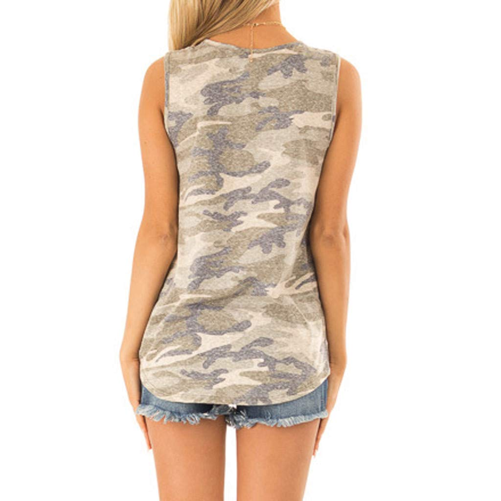 Botrong Womens Tops Sleeveless Sequin Pocket Front Knot Camouflage Print Tank Top