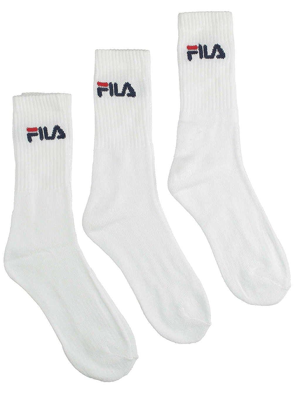 FILA 3 paia di calzini, calze da tennis in spugna con colletto con logo, unisex: Colour: White | Size: 3-5 UK 3013038