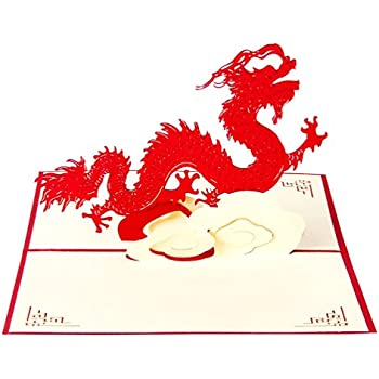 Amazon Id Birthday Cards Paper Craft Pop Up Chinese Dragon 3d