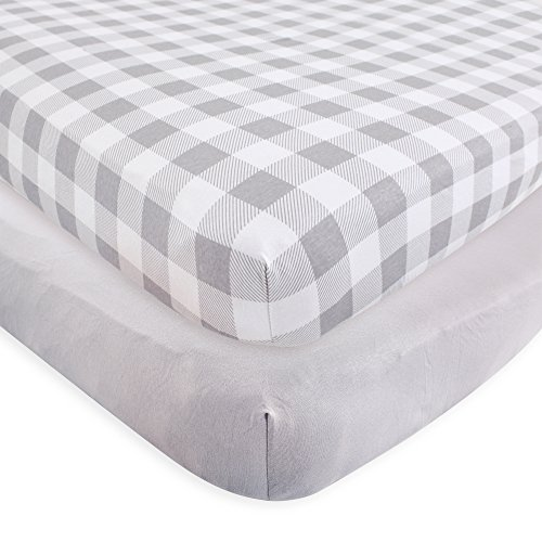 Touched by Nature Organic Fitted Crib Sheets, 2 Pack, Gray Plaid, One Size ()