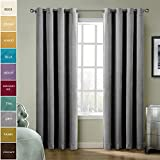 ChadMade Solid Matt Heavy Velvet Curtain Drape Panel Super Soft Nickel Grommet Grey 50Wx84L Inch (Set of 2 Panels) BIRKIN Collection Theater| Bedroom| Living Room| Hotel Review
