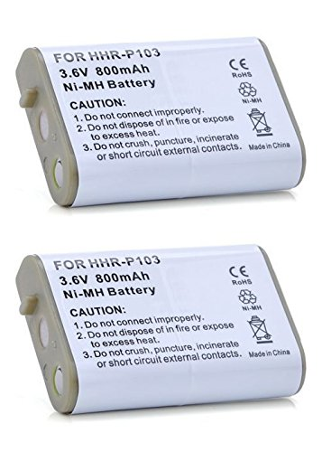 2 Pack of HHR-P103 Cordless Phone Battery Replacement for Panasonic KX-TD7896, HHR-P103, KX-TD7680, AT&T EP5632, KX-TD7684, VTech i5871, KX-TG2382, VTech IP8100, VTech i5808, AT&T EP590-2